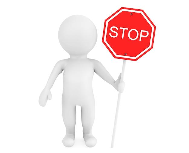 Pessoa 3d com sinal de trânsito de parada em um fundo branco