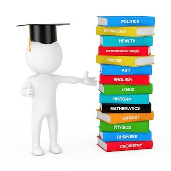 Pessoa 3d no chapéu da formatura perto da pilha de livros escolares coloridos em um fundo branco. renderização 3d
