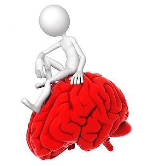 Pessoa 3d que senta-se no cérebro vermelho em uma pose pensativa