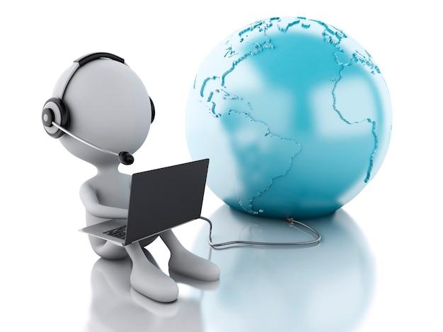 Pessoa branca 3d, trabalhando em um laptop com fones de ouvido e terra globo