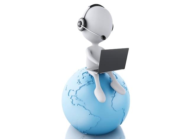 Pessoa branca 3d, trabalhando em um laptop com fones de ouvido na terra azul