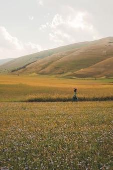 Pessoa caminhando em campo verde e marrom