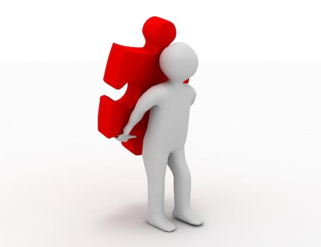 Pessoa carrega o quebra-cabeça. conceito de negócios