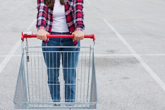 Pessoa, com, um, carro shopping