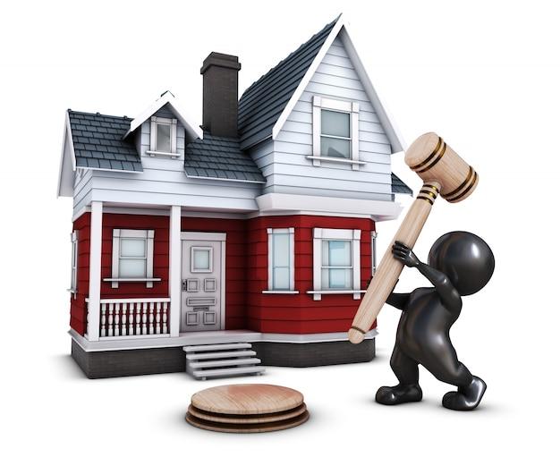 Pessoa com um martelo na frente de uma casa