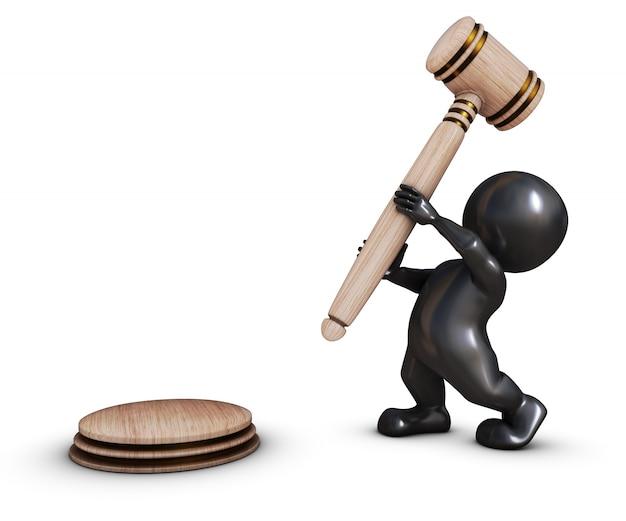 Pessoa com um martelo tribunal