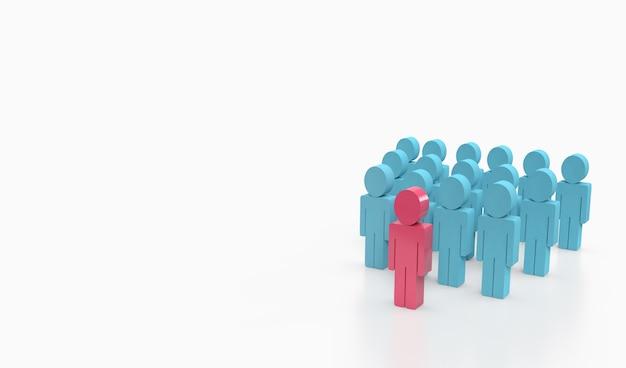 Pessoa cor-de-rosa das pessoas azuis do toher.