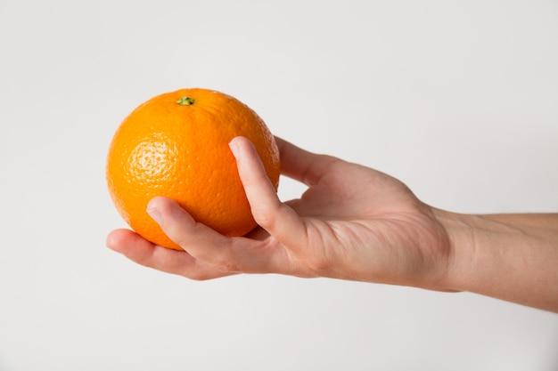 Pessoa dando laranja