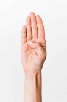 Pessoa de close-up, ensino de língua de sinais