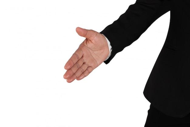 Pessoa de negócios solicitando permissão para apertar as mãos