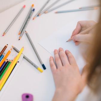Pessoa, desenho, com, lápis, ligado, papel