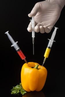 Pessoa injetando seringas em pimentão ogm