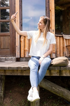 Pessoa, levando, um, selfie, mesma