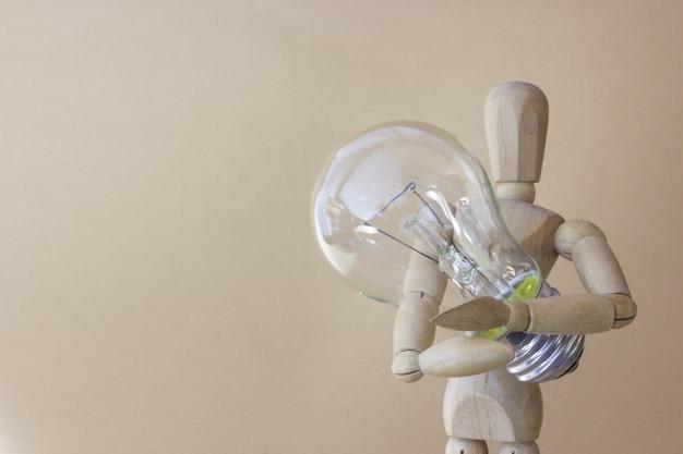 Pessoa madeira, segura, bulbo elétrico, em, mão