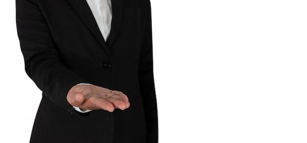 Pessoa negócio, mão, como, se, segurando, algo,