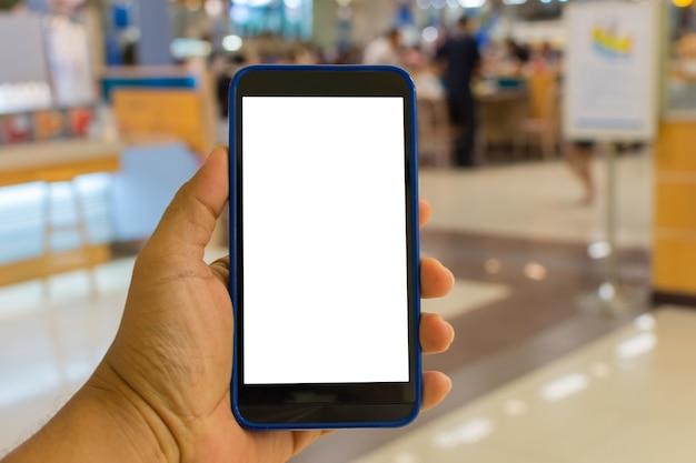 Pessoa, passe segurar, smartphone, ou, telefone móvel, com, branca, tela