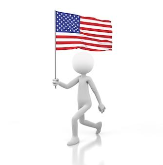 Pessoa pequena andando com a bandeira americana na mão. renderização de imagem 3d