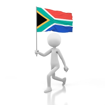 Pessoa pequena andando com a bandeira da áfrica do sul na mão. renderização de imagem 3d