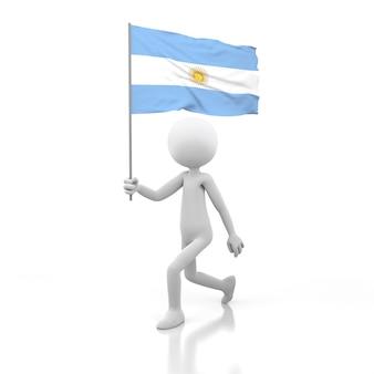 Pessoa pequena andando com a bandeira da argentina na mão. renderização de imagem 3d