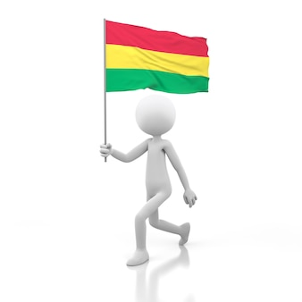 Pessoa pequena andando com a bandeira da bolívia na mão. renderização de imagem 3d