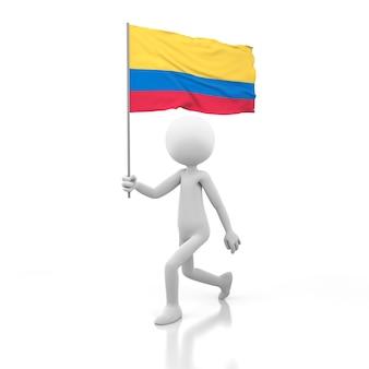 Pessoa pequena andando com a bandeira da colômbia na mão. renderização de imagem 3d