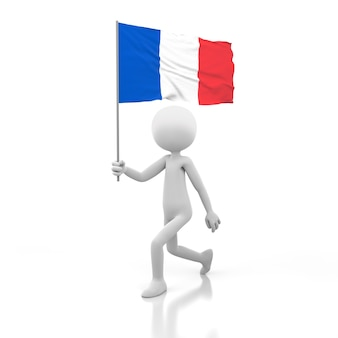 Pessoa pequena andando com a bandeira da frança na mão. renderização de imagem 3d
