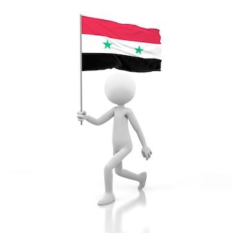 Pessoa pequena andando com a bandeira da síria na mão. renderização de imagem 3d