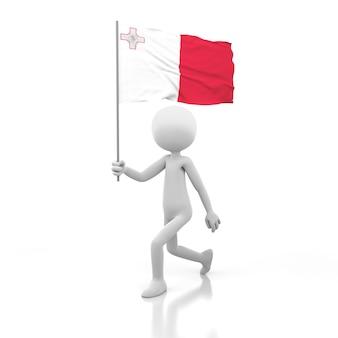 Pessoa pequena andando com a bandeira de malta na mão. renderização de imagem 3d