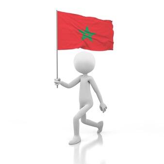 Pessoa pequena andando com a bandeira de marrocos na mão. renderização de imagem 3d