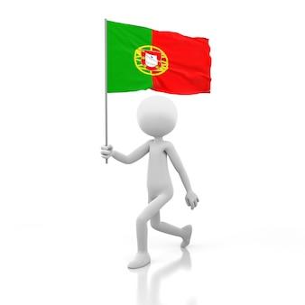 Pessoa pequena andando com a bandeira de portugal na mão. renderização de imagem 3d