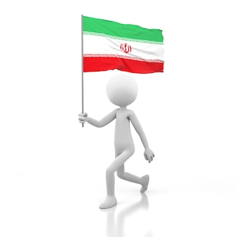 Pessoa pequena andando com a bandeira do irã em uma mão. renderização de imagem 3d
