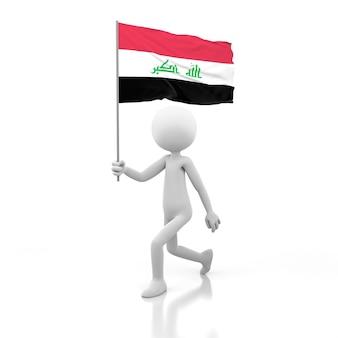 Pessoa pequena andando com a bandeira do iraque na mão. renderização de imagem 3d