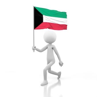 Pessoa pequena andando com a bandeira do kuwait na mão. renderização de imagem 3d