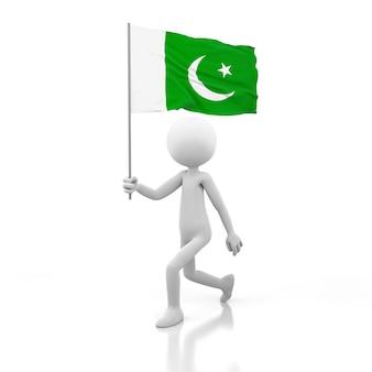 Pessoa pequena andando com a bandeira do paquistão na mão. renderização de imagem 3d