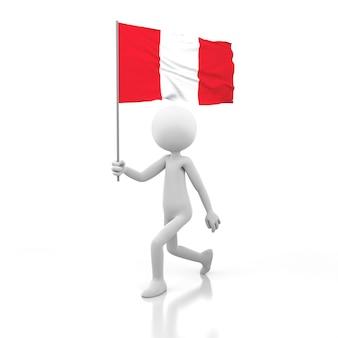 Pessoa pequena andando com a bandeira do peru na mão. renderização de imagem 3d