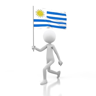 Pessoa pequena andando com a bandeira do uruguai na mão. renderização de imagem 3d