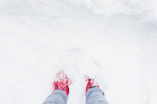Pessoa, pernas, em, neve