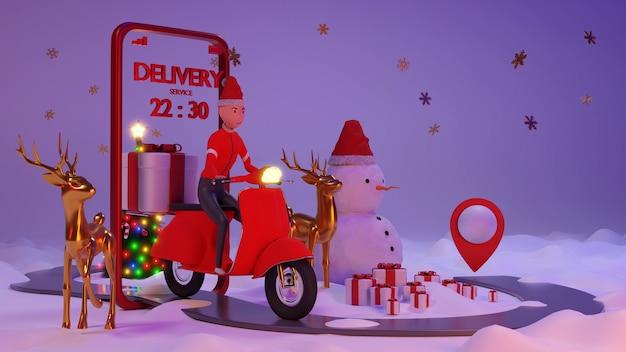 Pessoal de entrega bonito em terno de papai noel pegue o pacote. renderização 3d. personagem 3d.