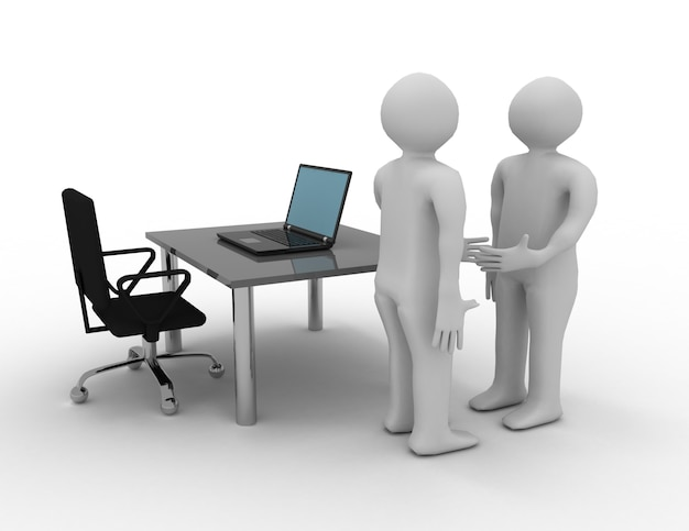 Pessoas brancas 3d. acordo de negócios. ilustração renderizada 3d