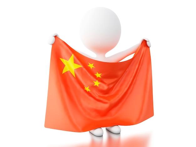 Pessoas brancas 3d com a bandeira da china.