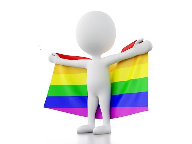 Pessoas brancas 3d com bandeira do orgulho gay