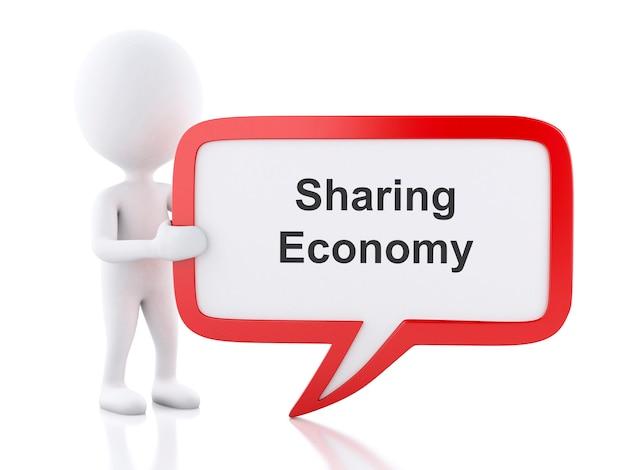 Pessoas brancas 3d com bolha do discurso que diz economia de compartilhamento.