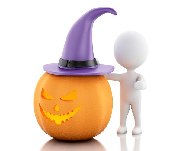 Pessoas brancas 3d com chapéu de abóbora e bruxa. conceito de halloween.