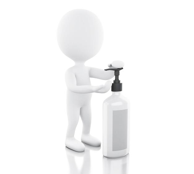 Pessoas brancas 3d com garrafa cosmética
