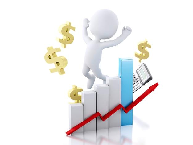 Pessoas brancas 3d com gráfico de estatística de negócios. conceito de sucesso