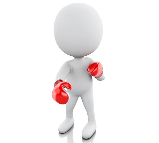 Pessoas brancas 3d com luvas de boxe vermelhas.