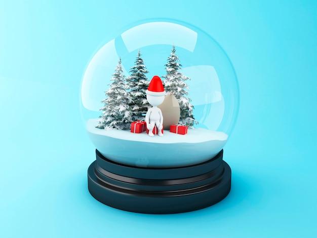 Pessoas brancas 3d com presentes de natal na cúpula de neve.