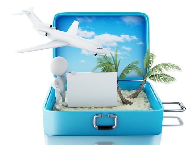 Pessoas brancas 3d com tabuleta em uma mala de viagem. conceito de verão