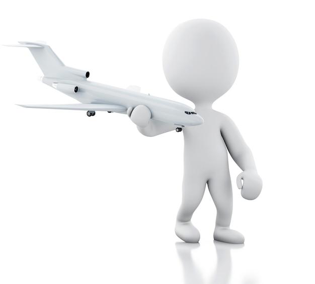 Pessoas brancas 3d com um avião. conceito de viagem