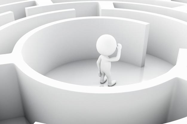 Pessoas brancas 3d com um labirinto.